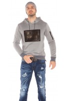 Trendy Men Hoodie with Print Grey