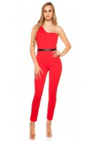 Sexy KouCla One Shoulder jumpsuit with belt Red