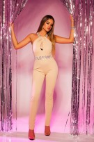Jumpsuit with refined neckline Beige