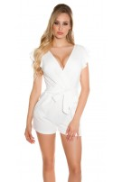 Sexy playsuit in a wrap look with flounce & belt White