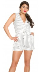 Sexy businesslook gestreepte playsuit met riem wit