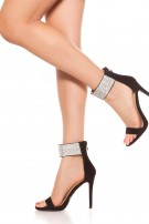 Sexy high heel sling sandal with rhinestones Black