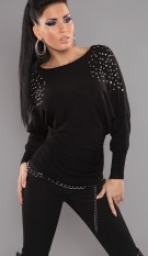 Sexy studded bat-sweater with rhinestones Black