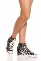Trendy Chucks style sneaker w. sequins & wedge Black
