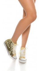 Trendy sneakers met pailletten die van kleur veranderen goud