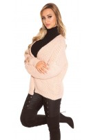 Trendy KouCla chunky knit cardigan Antiquepink