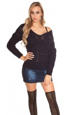 Sexy Koucla knit jumper with cable stitch Navy