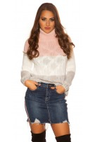 Sexy KouCla turtleneck jumper with cable stitch Pink