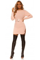 Sexy KouCla rough knit dress WITH belt Pink