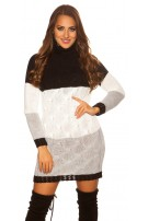 Trendy KouCla turtleneck mini dress cable stitch Black