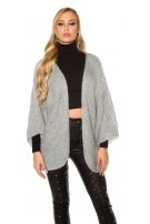 Trendy XXL loose knit jacket Grey