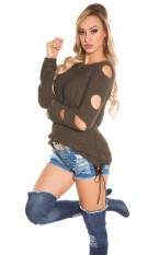 Trendy KouCla knit sweater with holes Khaki