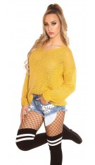 Trendy KouCla V-cut chunky knit jumper oversized Mustard
