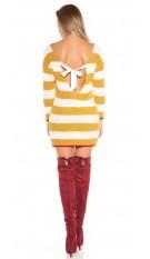 Sexy KOUCLA knit minidress/long jumper w.sexy back Mustard