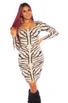 Sexy Tiger Knit Dress Beige