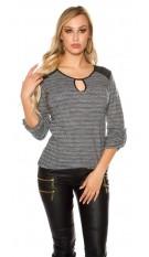 Trendy pullover met kunstleder & inkijk witzwart