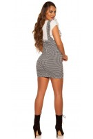 Sexy strap skirt with ruffles houndstooth pattern Blackwhite
