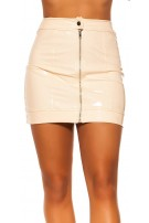 Sexy KouCla Latex Look Skirt with Zip Beige