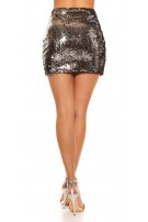Sexy Mini Skirt With Change Sequins Silver