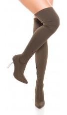 Sexy overknee laarzen met blokhak doorzichtig khaki