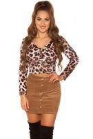 Sexy fluffy long sleeve shirt with animal print Leo