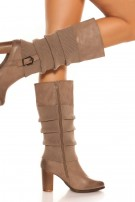 Trendy boot with cuff look Cappuccino