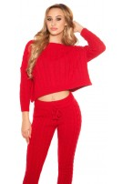 Trendy Roughknit home suit (SET Jumper & Pants!) Red