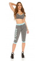 Trendy workout-sport outfit turkoois-kleurig