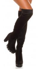 Sexy plateau overknee laarzen suede-look zwart
