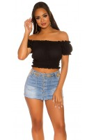 Sexy Crop Carmen Shirt Black