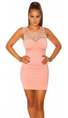 Sexy KouCla mini dress with lace Antiquepink