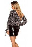 Sexy polka dot longsleeve neck Blouse Black