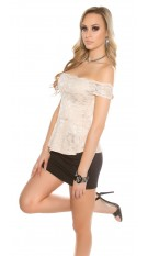 Sexy KouCla lace latina top with peplum Beige