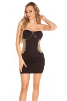Sexy Disco-Bandeaudress with sequins and stones Black