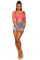 Sexy KouCla Off Shoulder Crop Top Fuchsia
