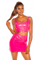 Sexy KouCla wetlook Crop-top Pink
