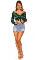 Sexy Crop Top Satin Look Darkgreen