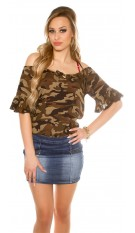 Sexy Camouflage Coldshoulder Shirt Army