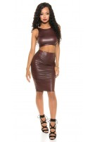 Sexy KouCla Wetlook Crop Top with zip Bordeaux