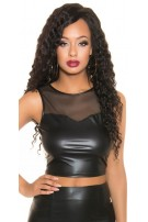 Sexy KouCla Wetlook Tank Crop Top with mesh Black