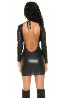 Sexy KouCla Neckholder Wetlook Mini dress Black