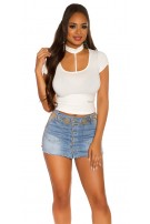 Sexy KouCla Basic Crop Shirt White