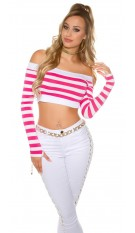 Sexy long sleeve Crop shirt, striped Fuchsia