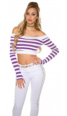 Sexy long sleeve Crop shirt, striped Purple