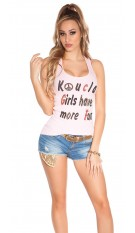 Sexy koucla girls have more fun tanktop met studs roze