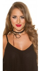 Sexy suede look choker with rhinestone & ribbon Gold