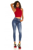 Sexy Skinny Jeans Used Look elastic waistband Jeansblue
