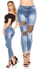 Sexy skinny jeans gebruikte used look met net jeansblauw