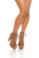 Sexy block heel high heels with cut outs Cappuccino