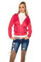 Trendy hooded quilted jacket Red